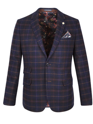 GUIDE LONDON Navy Check Blazer
