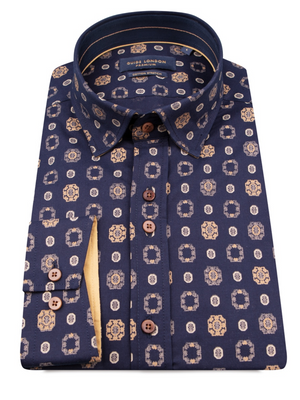 Guide London Navy & Taupe Print Shirt