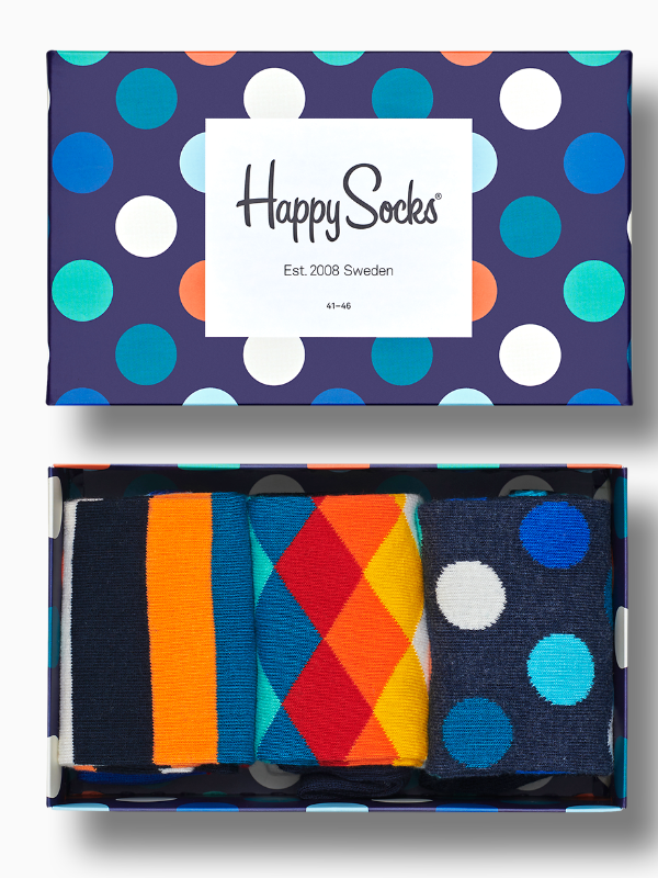 Happy Sock Classic Mix 3 Pack Gift Box