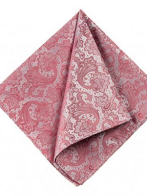 Monti Dusty Pink Paisley Silk Pocket Square