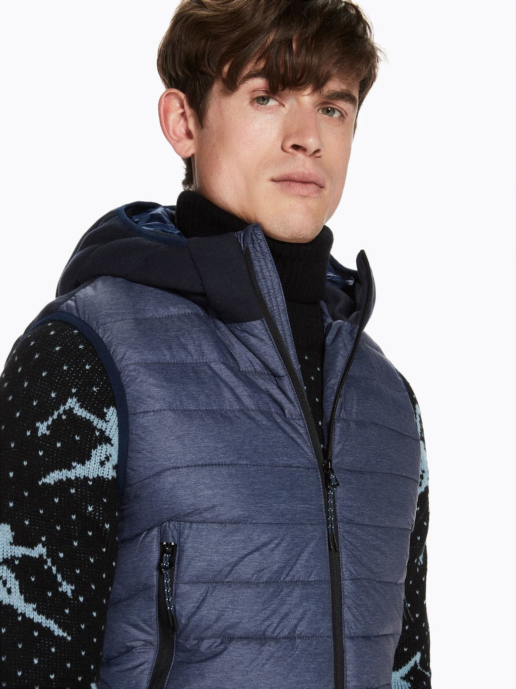 Scotch & Soda Denim Blue Hooded Bodywarmer