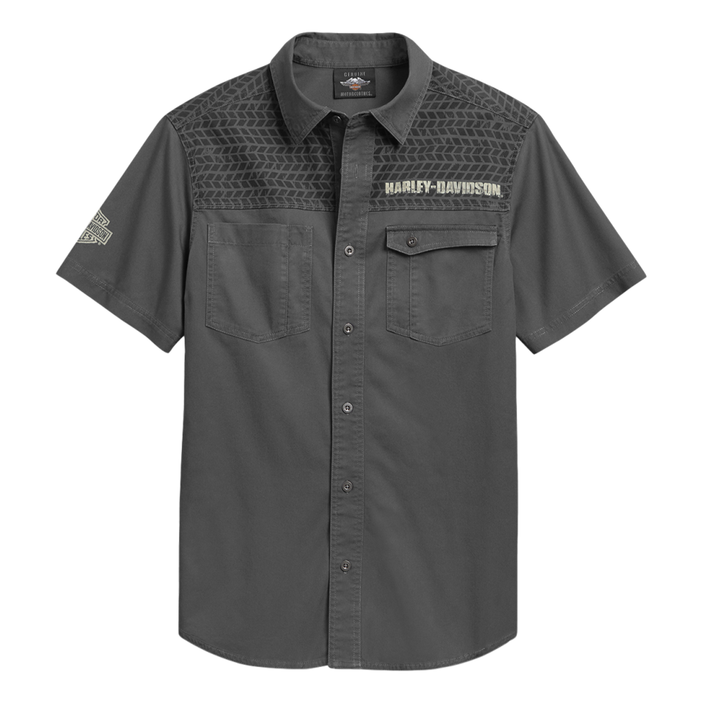 Men's Tire-Tread Yoke Skull Wing Shirt