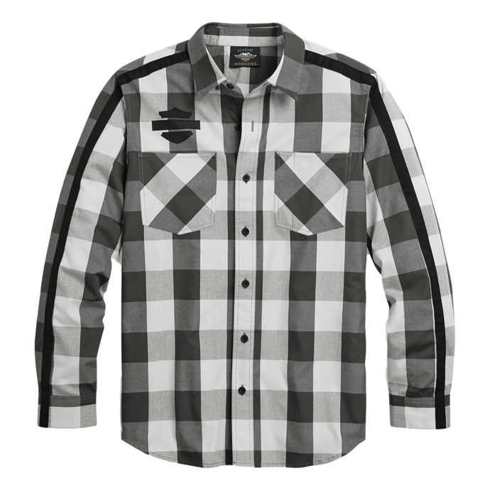 Men's Sleeve Stripe Plaid Shirt