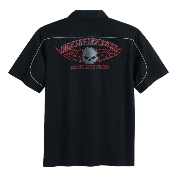 Men's Short Sleeve Burning Skull Garage Shirt