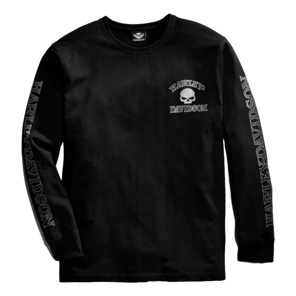Men's Black Skull Long Sleeve Tee