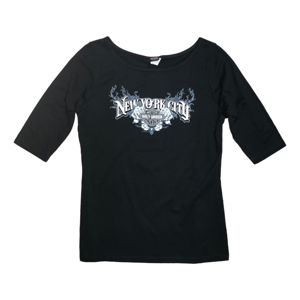 front-harley-davidson-nyc-womens-exclusive-3-4-slv-sharp-tee-black