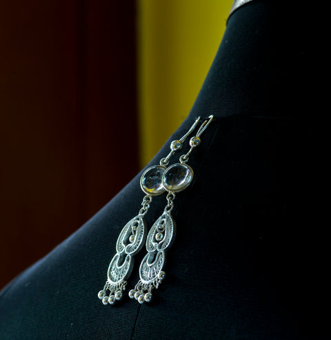 Pure Silver Filigree Earings- White stone