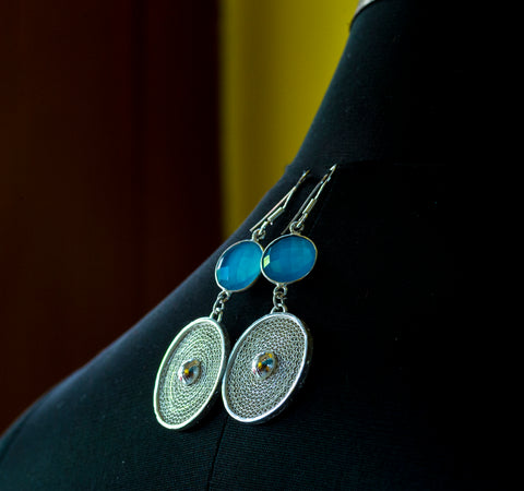 Pure Silver Filigree Earings- Blue stone