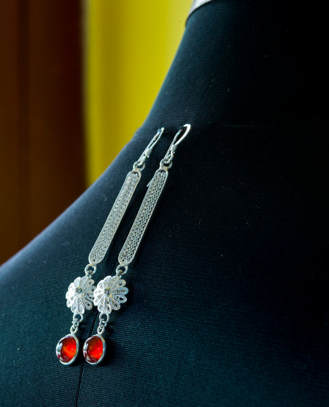 Pure Silver Filigree Earings- Orange stone