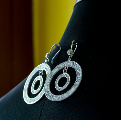 Pure Silver Filigree Earings- Double loops
