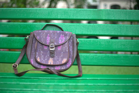 Lilac Ikat Weave Handbag With Sling