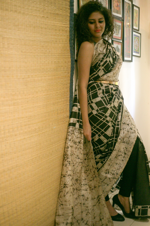 Abstract Wax Batik Silk Saree- Black and White