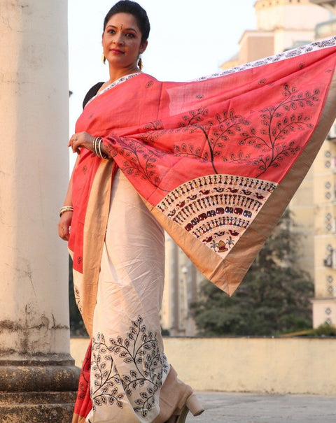 Designer Silk Saura Handpainted Saree- Triangular Border