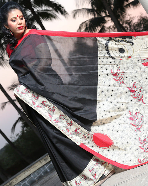Designer Madhubani Handpainted Saree- Black and Red