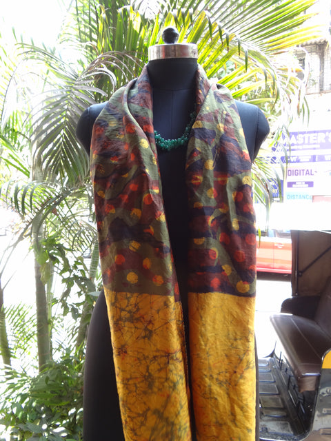 Brown and yellow batik stole