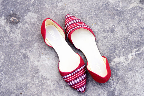 Red Kotpad Weave Flats
