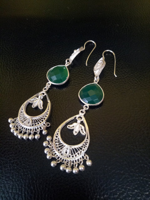 Pure Silver Filigree Earings- Green stone