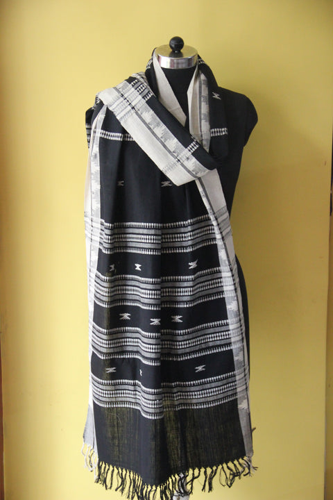 Kotpad Organic Cotton Dupatta- Black with White Cross Design