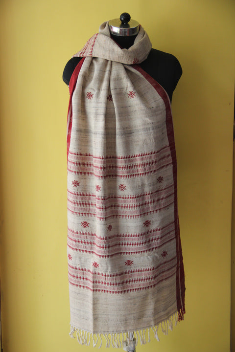 Kotpad Organic Cotton Dupatta- Gheecha with Butti