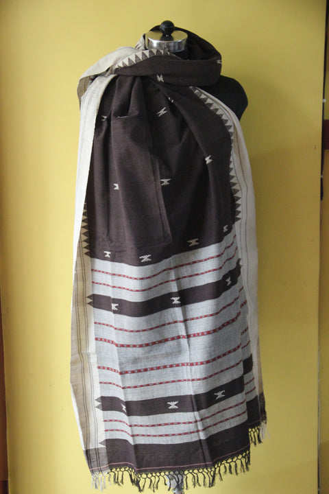 Kotpad Organic Cotton Dupatta- Coffee With Cross Pattern