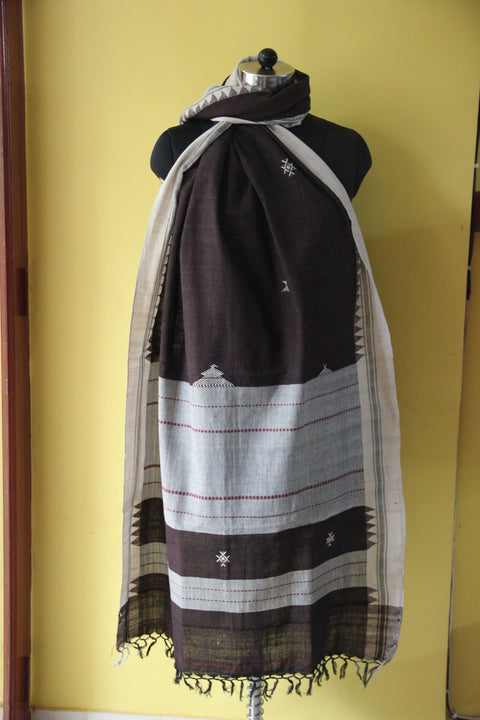 Kotpad Organic Cotton Dupatta- Coffee With Temple Pattern