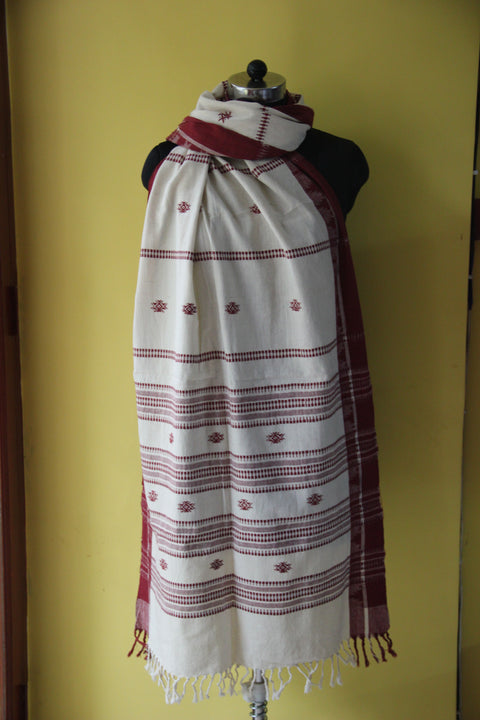 Kotpad Organic Cotton Dupatta- Gheecha with Butti Pattern