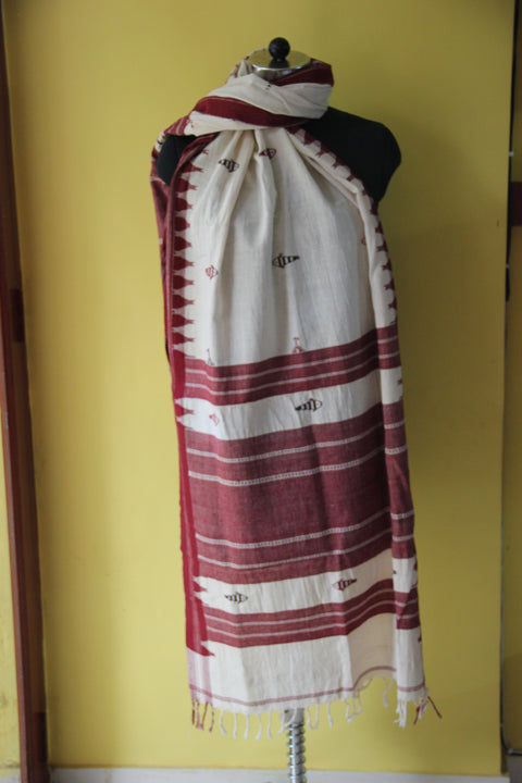 Kotpad Organic Cotton Dupatta- Off White with Fish Pattern