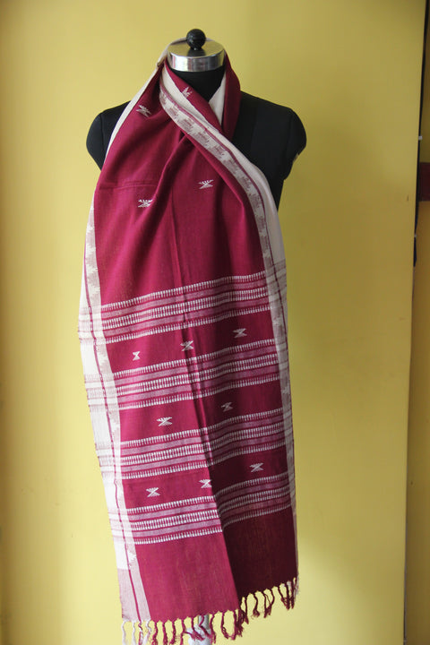 Kotpad Organic Cotton Stole- Maroon with Cross Pattern