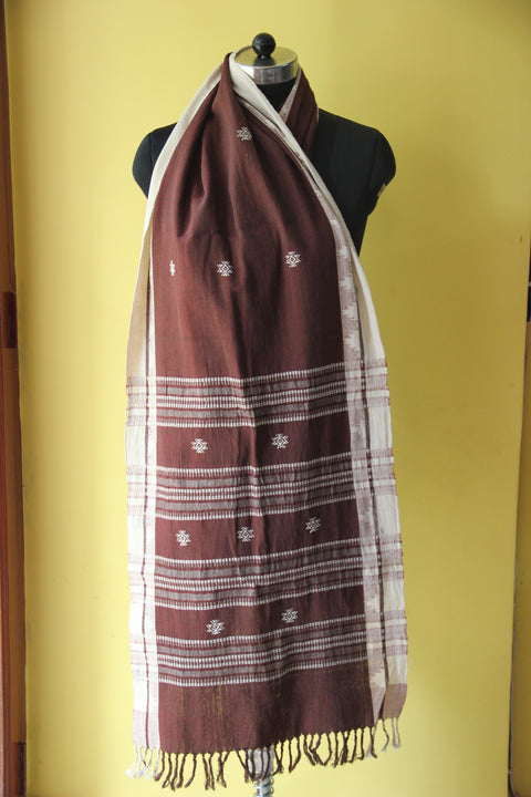 Kotpad Organic Cotton Stole- Coffee with Butti Pattern
