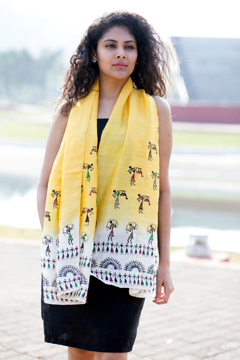 Ombre Yellow Handpainted Saura Silk Stole