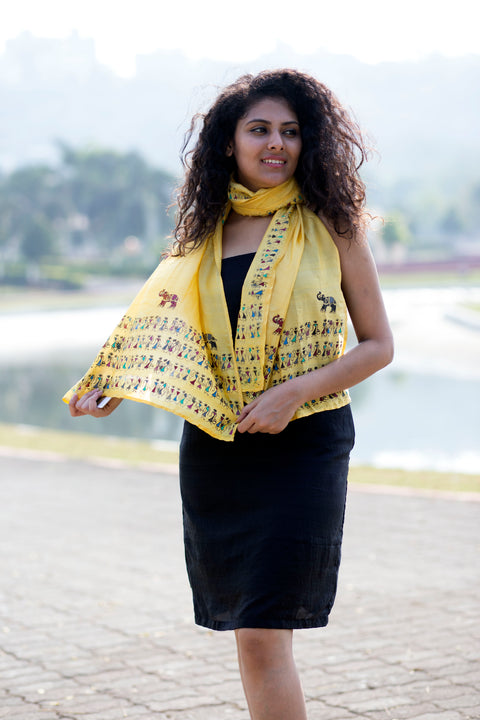 Yellow Handpainted Saura Silk Stole