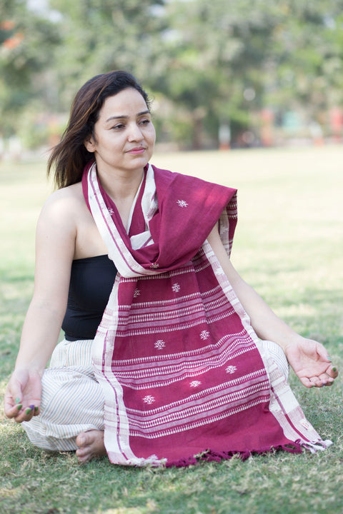 Kotpad Organic Cotton Stole- Maroon Base With White Butti Pattern