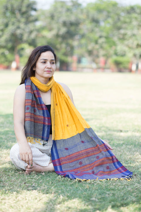 Kotpad Organic Cotton Stole- Yellow and Blue