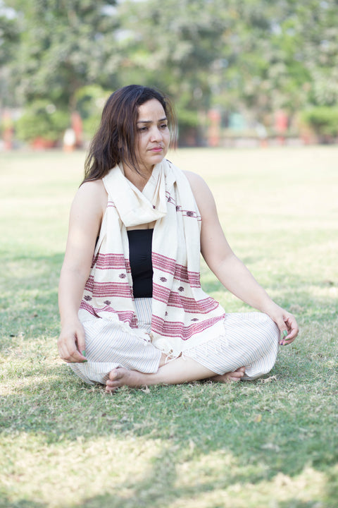 Kotpad Organic Cotton Stole- Off White Base With Brown Butti Pattern