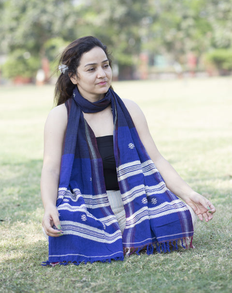 Kotpad Organic Cotton Stole- Blue
