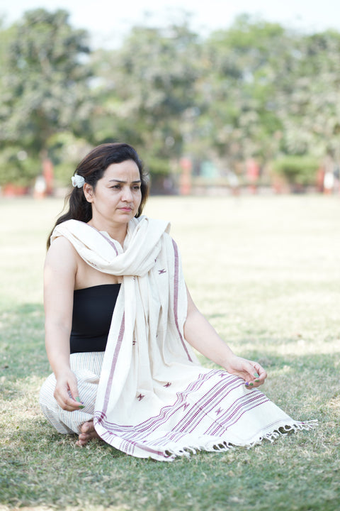 Kotpad Organic Cotton Stole- Off White and Beigh Pattern