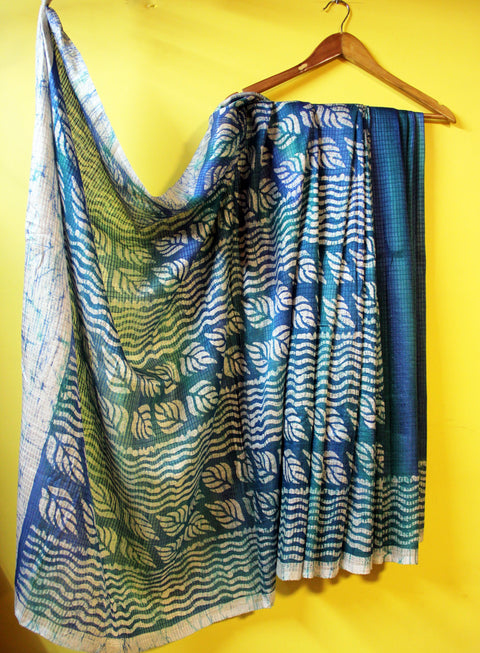 Blue Pure Silk Wax Batik Saree