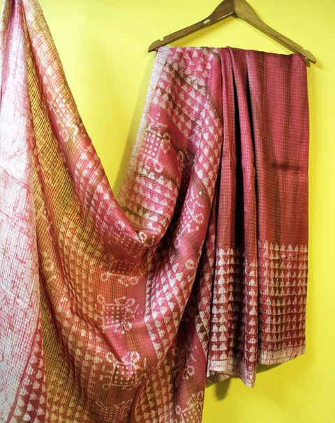 Pink Wax Batik Pure Silk Saree