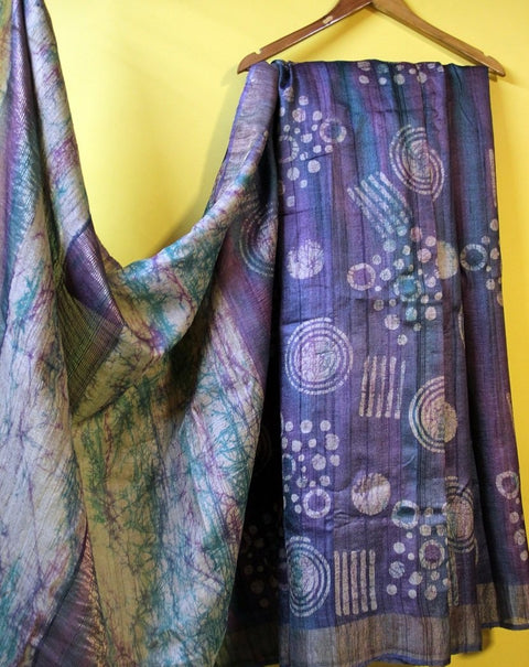 Purple Wax Batik Pure Silk Saree- Tussar Silk