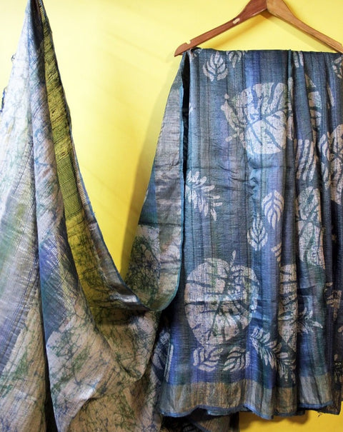 Green Wax Batik Pure Silk Saree- Tussar Silk