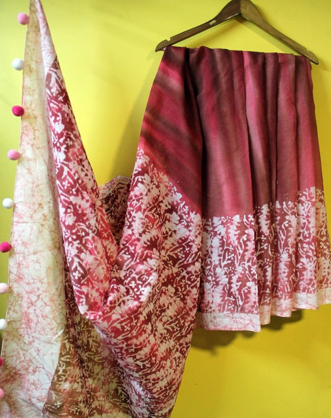 Pink Wax Batik Cotton Saree