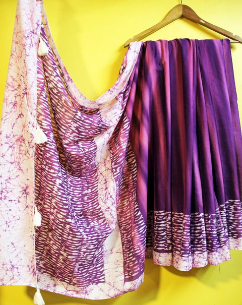 Purple Wax Batik Mul Saree