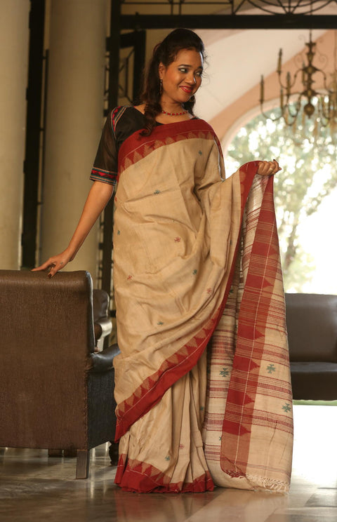 Kotpad Organic Cotton-Silk Saree- Brick Red Pattern on Tussar Base