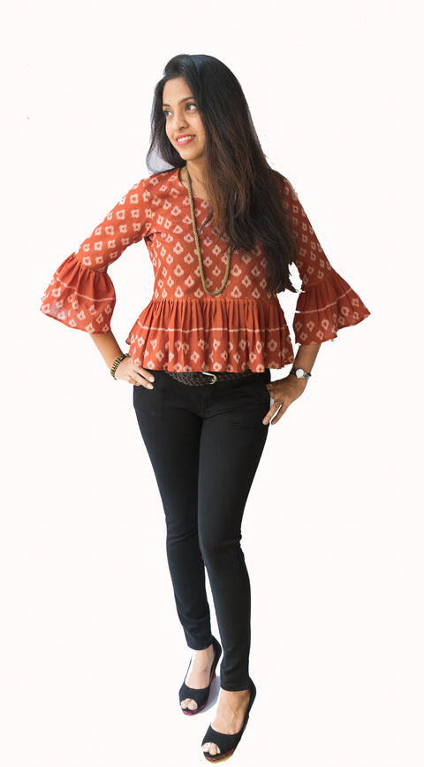 Brown Bell Sleeve Ikat Top