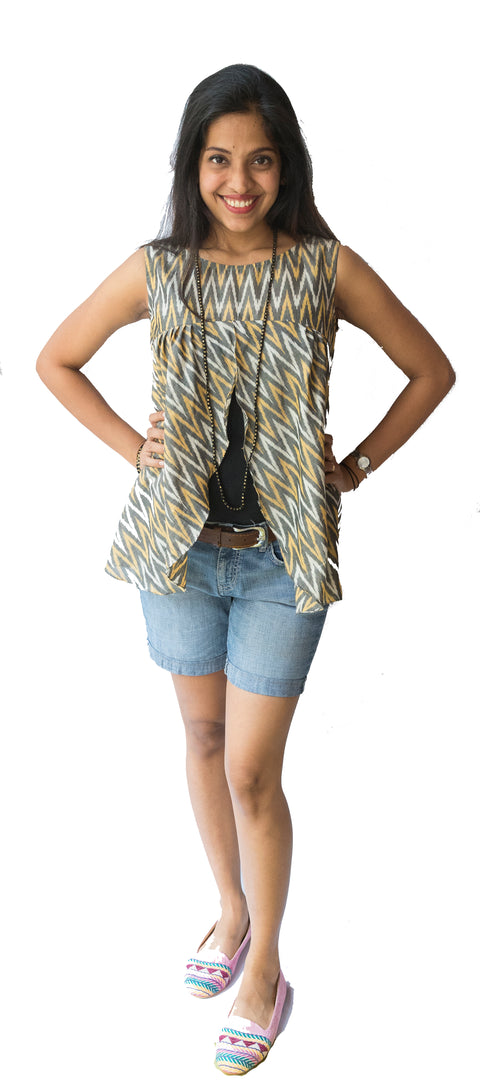 Yellow Ikat Top