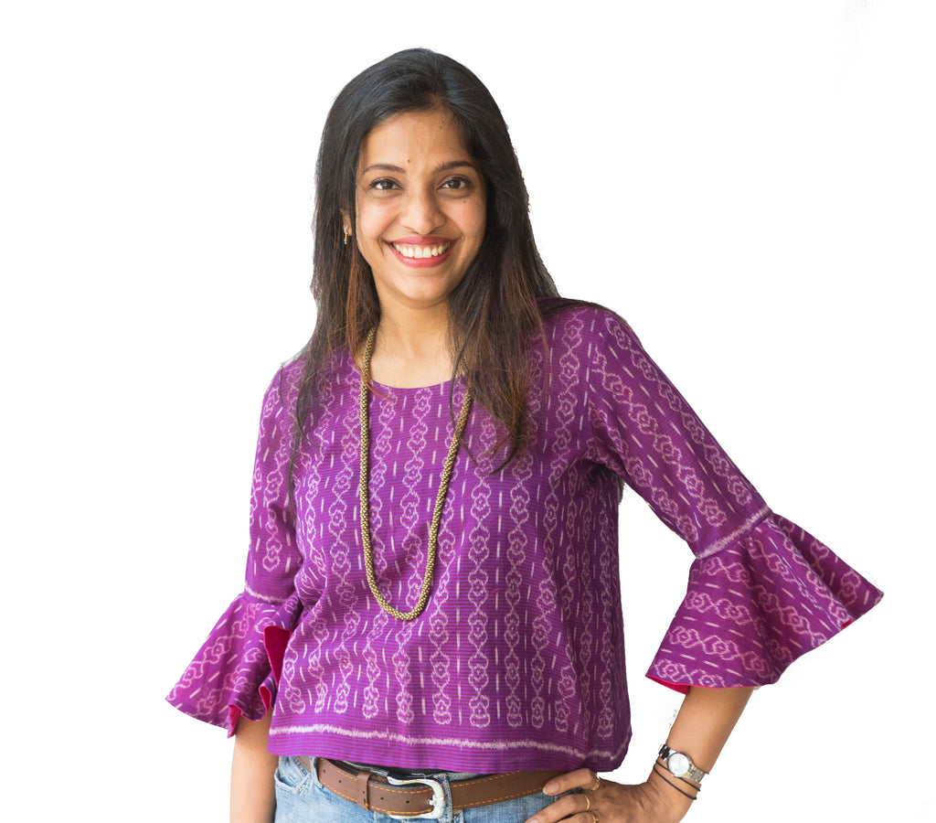 Purple Bell Sleeve Ikat Top