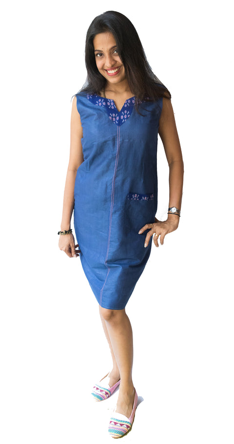 Denim Blue Ikat Kurti Dress