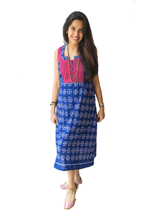 Pink and Blue Ikat Dress