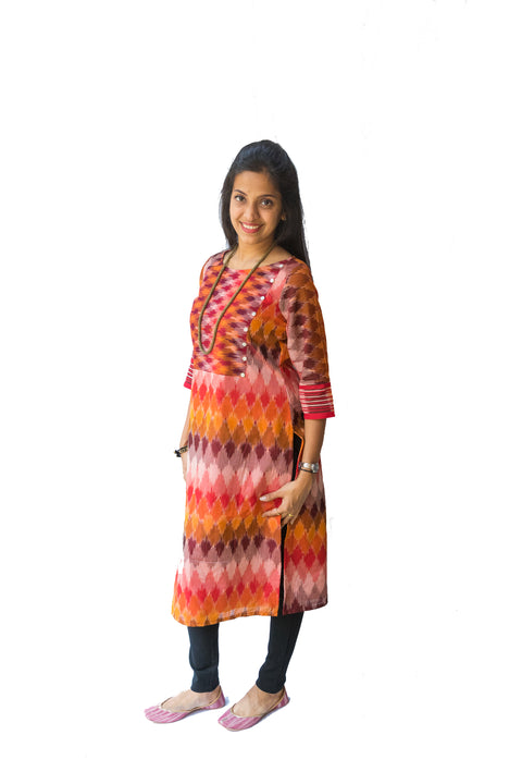 Multi-colour Ikat Kurti