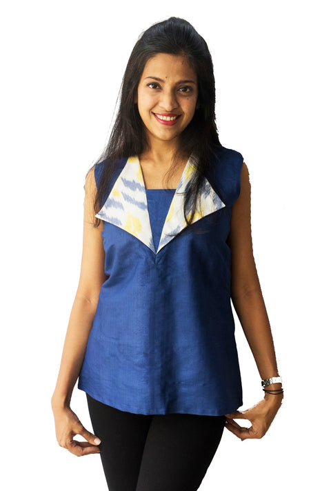 Blue And Yellow Ikat Collar Top